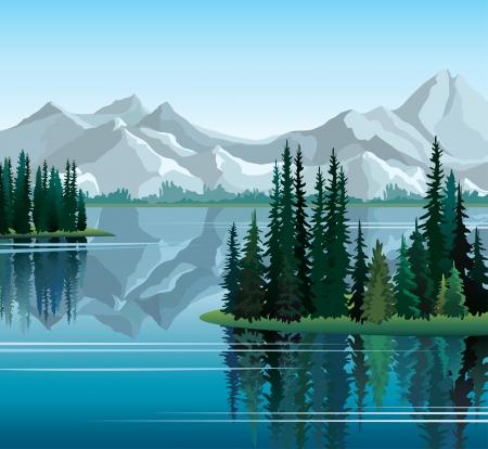 Groep van pijnbomen weerspiegeld in kalm nog water met bergen op de achtergrond
