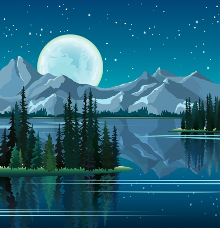 mountain view: Full moon and group of pine trees reflected in calm still water with mountains on a night starry sky