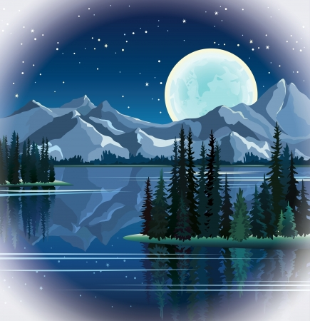 Full moon and group of pine trees reflected in calm still water with mountains on a night starry sky background
