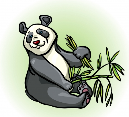 Cartoon funny panda with bamboo leaves sitting on a green background Vector