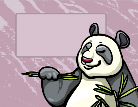 Funny cartoon panda eating bamboo leaves on a crimson background Vector