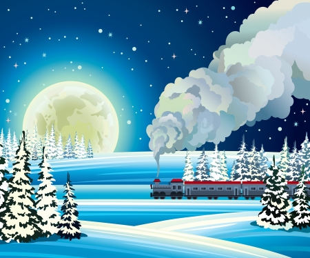 Yellow full moon and train with smoke on a snowdrift background   Winter night landscape  Vector