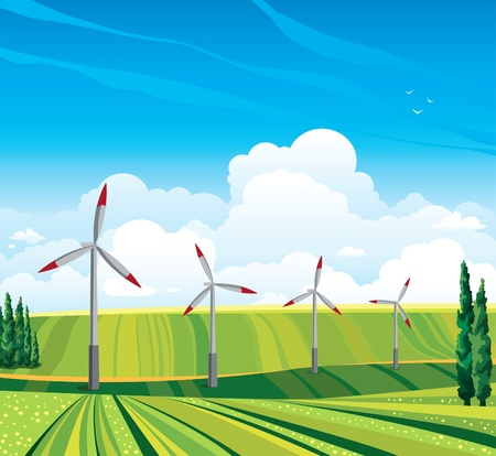 sky blue: Wind generator and green meadow on a blue sky with clouds  Summer rural landscape