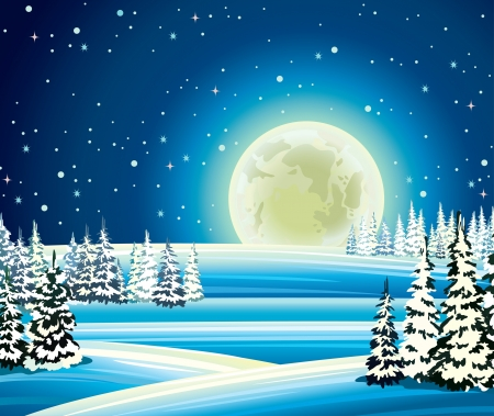 Yellow full moon with stars and snowy forest on a night sky background  Winter landscape  Stock Vector - 18155476