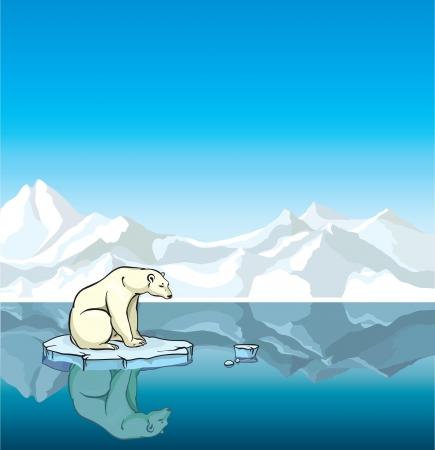 Oso polar sentado en una fusión del hielo en el mar. El calentamiento del planeta. Ilustración de vector