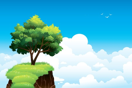 fantasy world: Lonely green tree and rock on a blue cloudy sky background