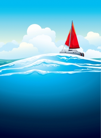 Yacht with red sail and sea waves on a blue sky background with white clouds  Vector seascape  Vector