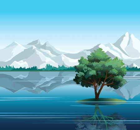 mountain view: Lonely green tree reflected in calm still water with mountains on a blue sky background