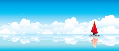 cloudy day: Lonely red yacht reflected in calm sea on a blue sky background with white clouds