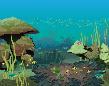 Underwater life with coral reef and school of fish in the blue sea   Vector