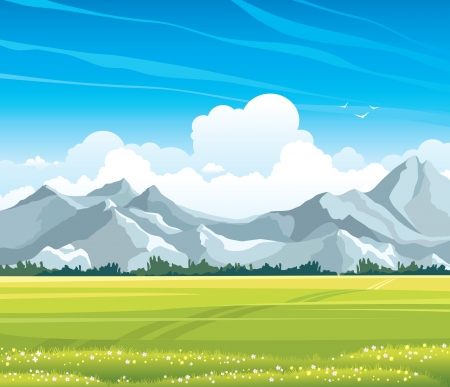 Summer landscape with green flowering meadow and gray mountains on a blue sky background with cumulus clouds 向量圖像