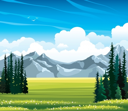 Summer vector landscape with green meadow, flowers, fir amd mountains on a blue cloudy sky background