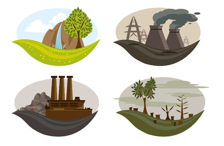 icons of global pollution on the earth  Illustration