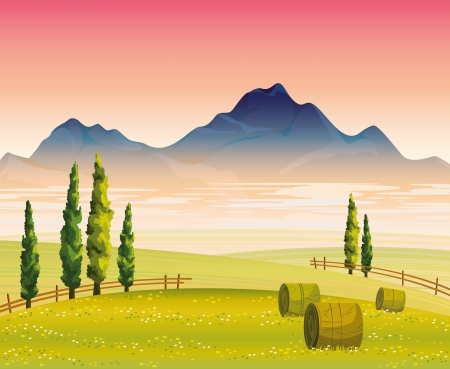 Morning autumn landscape with flowering green field, cypress trees and mountains with fog on a pink sky background Vector