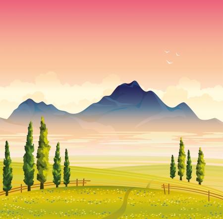zypresse: Morgen Sommer Landschaft mit gr�nen Blumenwiese, Zypressen und die Berge mit Nebel auf einem rosa Himmel Hintergrund