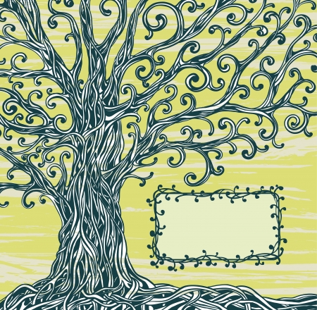 climbing frames: Old graphic tree with twisted roots and frame on a green background  Illustration