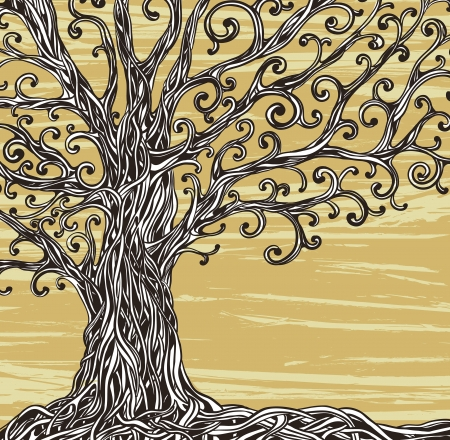 Old graphic tree with twisted roots on a brown background   Illustration