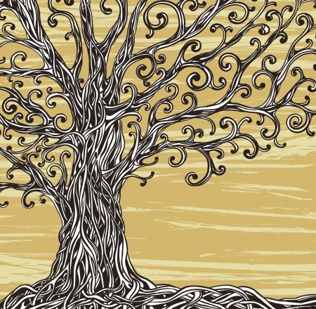 Viejo árbol gráfico con raíces retorcidas sobre un fondo marrón Ilustración de vector