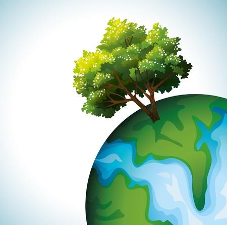 arbol de problemas: Verde �rbol de flor en un problema ambiental globo