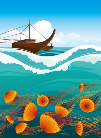 Brawn boat and cartoon orange jellyfish floating in the blue sea  Underwater life