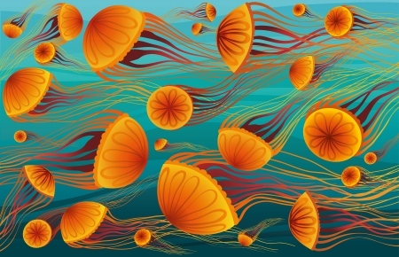 Cartoon orange jellyfish floating in the deep blue sea  Vector underwater wallpaper 版權商用圖片 - 19882985