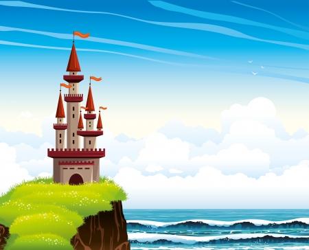 파도와 흐린 하늘 배경으로 푸른 바다에 녹색 꽃 잔디와 절벽에 서있는 만화 붉은 성