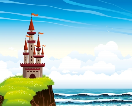 cliff: Cartoon red castle standing on a cliff with green blossom grass on a blue sea with waves and cloudy sky background