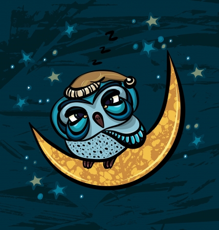 Cartoon sleepy owl sitting on a yellow month on a starry night sky background Vector