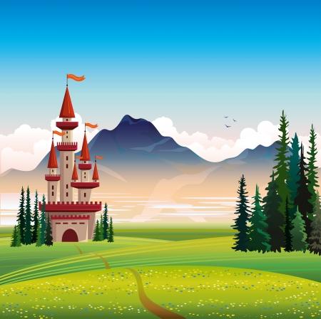 spruce: Paisaje de verano con el castillo rojo, verde campo, abetos y monta�as sobre un fondo de cielo azul