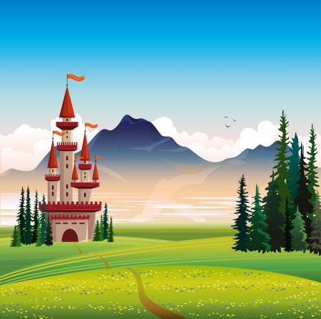 Summer landscape with red castle, green field, spruce and mountain on a blue sky background