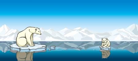 Ijsbeer en zijn baby zittend op een smeltend ijs in een zee. Opwarming van de aarde.