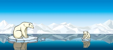 warming: Polar bear and his baby sitting on a melting ice in a sea. Global warming.