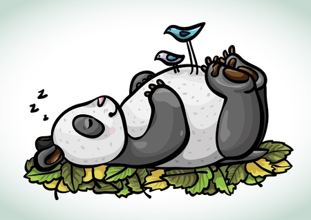 sleeping animals: Cartoon funny sleeping panda and two blue dirds