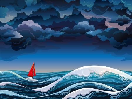 Paesaggio marino di notte con la barca a vela rossa e cielo tempestoso Vettoriali