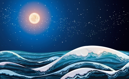 stormy: Night sea with waves on a starry sky with full moon