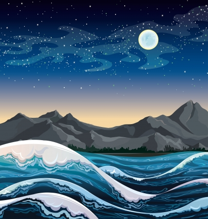 stormy: Night sea with waves and mountains on a starry sky with full moon