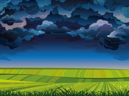 Stormy night sky with group of clouds and green meadow  Illustration
