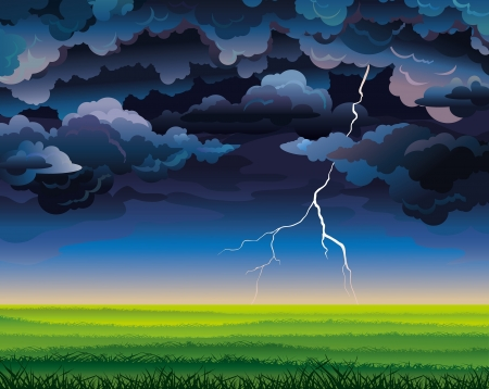 Summer landscape with green field, lightning and stormy sky
