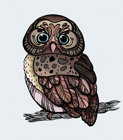 Cartoon graphic owl sitting on a branch Vector
