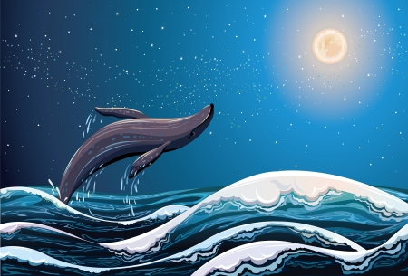 coral ocean: Whale jumping out of the waves on a night starry sky background with full moon Illustration
