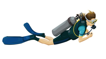 immersion: Illustration of a scuba diver on a white background  Illustration