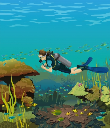Colored coral reef with fish and scuba diver on a blue sea background Vector