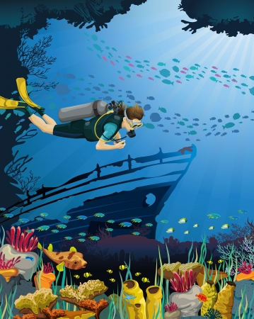 ship wreck: Scuba diver floating over a coral reef and drowned ship on a blue sea background