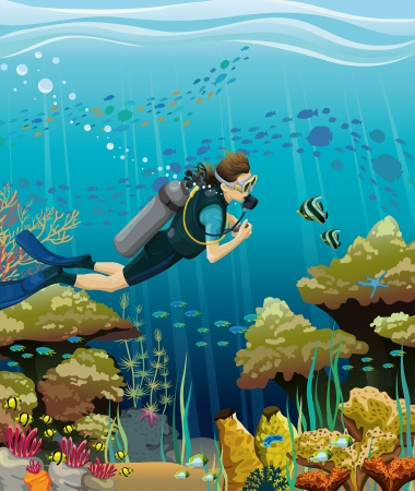 Scuba diver and colored coral reef on a blue sea background Ilustração