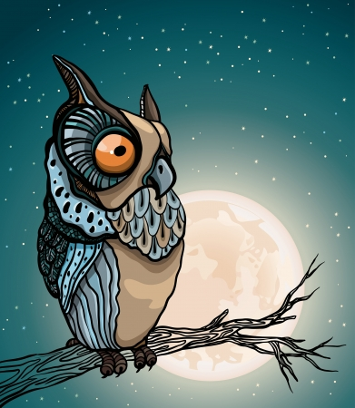 Cartoon owl sitting on a branch in the night starry sky with full moon.