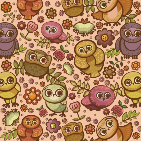 Bird seamless pattern with funny owls and colored flowers  Cartoon vector wallpeper  Vector