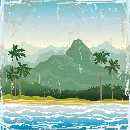 sand asia: Tropical asian landscape with green hills, palms and blue sea.