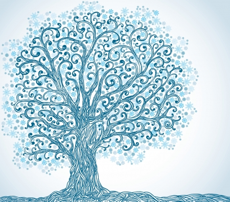 Winter graphic tree with blue snowflakes. Vector