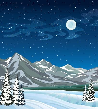 snowdrift: Winter nature landscape with full moon and mountains