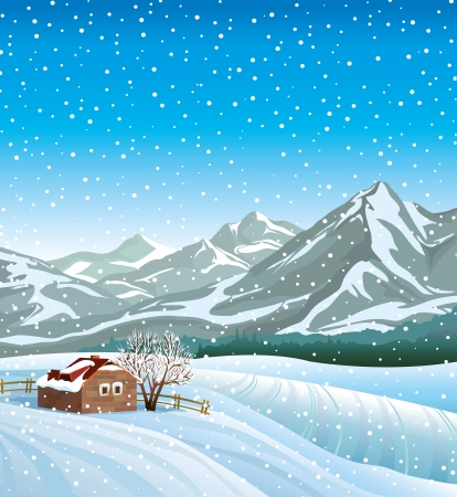 Winter nature landscape with hut, mountains and snowfall  Vector